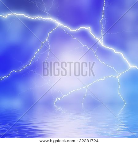 Lightning reflecting in water background