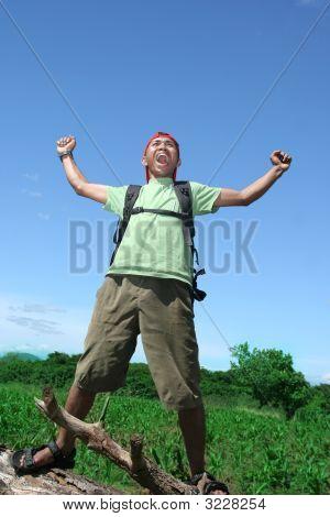 Hiking Man Celebration
