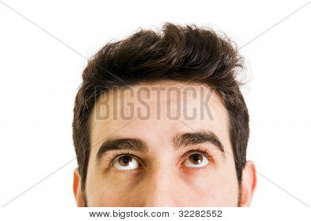 closeup of young man looking up, isolated on white