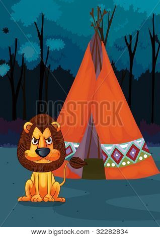 Illustration of a lion at a campsite - EPS VECTOR format also available in my portfolio.