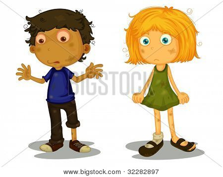 Illustration of homeless children on white - EPS VECTOR format also available in my portfolio.