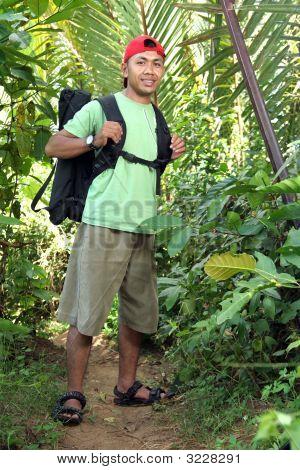 hiking backpacker man