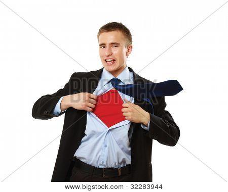 Superhero businessman, isolated on white background