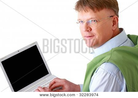 Smiling elderly senior man with laptop