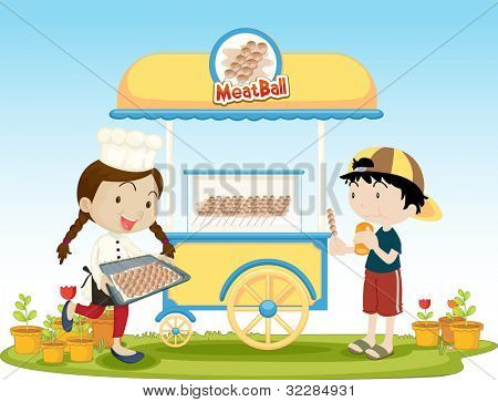 Illustration of kids selling food - EPS VECTOR format also available in my portfolio.