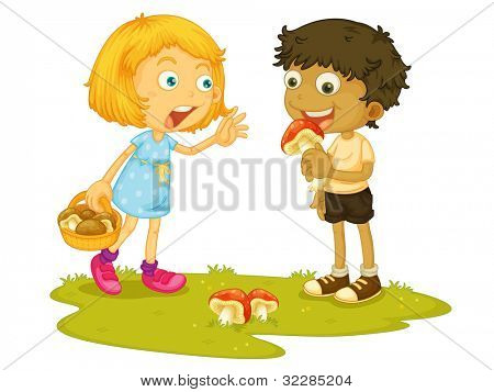 Illustration of a child about to eat a mushroom - EPS VECTOR format also available in my portfolio.