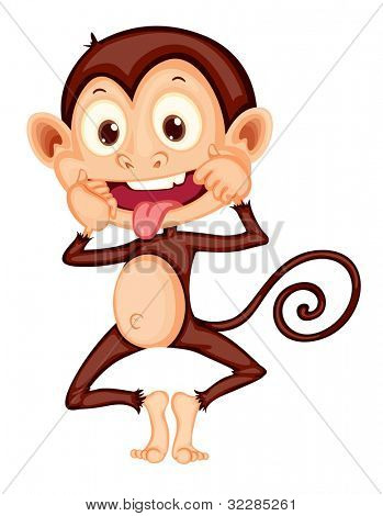 Illustration of a monkey on white - EPS VECTOR format also available in my portfolio.