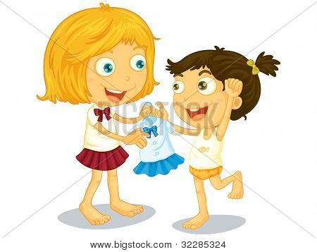Illustration of sisters getting ready for school - EPS VECTOR format also available in my portfolio.