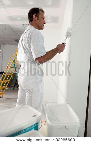 Decorator painting house