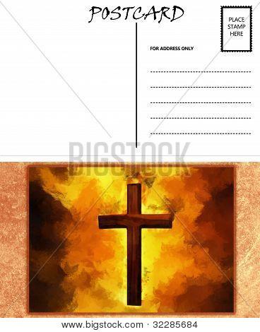 Empty Blank Postcard Template Fiery Christian Cross Image