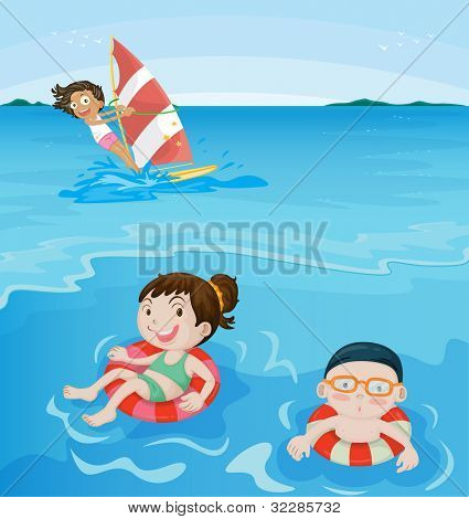 3 kids having fun at beach - EPS VECTOR format also available in my portfolio.
