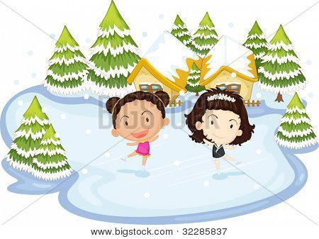 Illustration of kids dancing on ice - EPS VECTOR format also available in my portfolio.