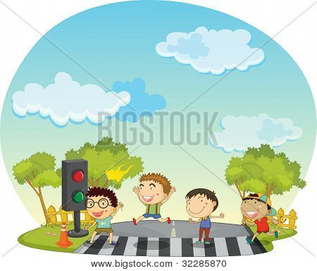 Illustration of children crossing the street - EPS VECTOR format also available in my portfolio.