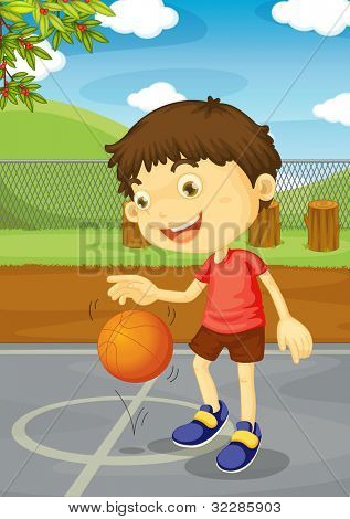 Illustration of a boy playing basketball - EPS VECTOR format also available in my portfolio.