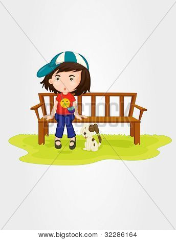 Illustration of a girl sitting on bench - EPS VECTOR format also available in my portfolio.