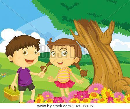 Ilustração das crianças no Parque - formato VETORIAL EPS também disponível na minha carteira.