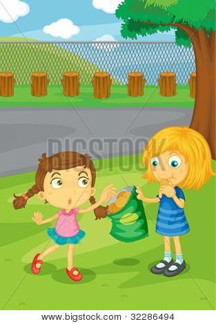 Illustration of kids sharing food - EPS VECTOR format also available in my portfolio.