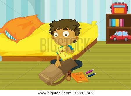 Illustration of a boy packing his schoolbag in his bedroom - EPS VECTOR format also available in my portfolio.