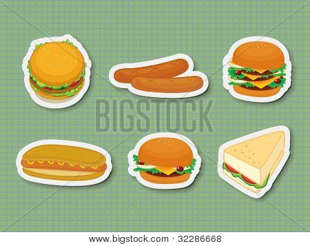 Illustration of fast food stickers - EPS VECTOR format also available in my portfolio.