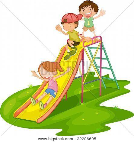 Ilustração de crianças brincando em um parque - formato VETORIAL EPS também disponível na minha carteira.