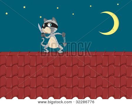 Illustration of a cat on a roof - EPS VECTOR format also available in my portfolio.
