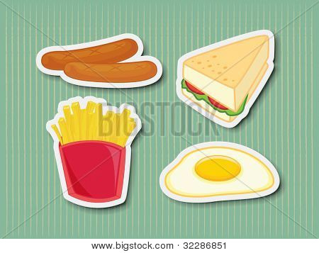 Illustration of chicken foods as stickers - EPS VECTOR format also available in my portfolio.