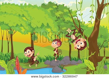 illustration of 3 cheeky monkeys - EPS VECTOR format also available in my portfolio.