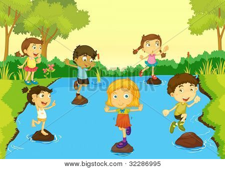 Illustration of children playing - EPS VECTOR format also available in my portfolio.
