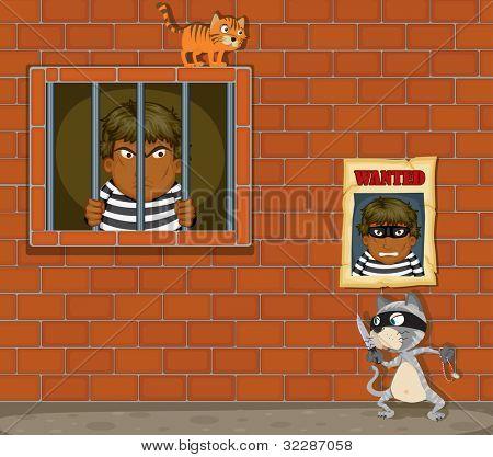 Ilustración de un ladrón en la cárcel sobre un fondo blanco - formato EPS VECTOR también disponible en mi BLCK