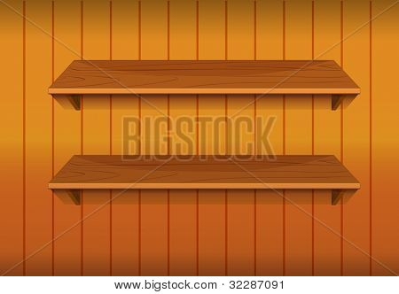 Illustration of empty wooden shelves - EPS VECTOR format also available in my portfolio.