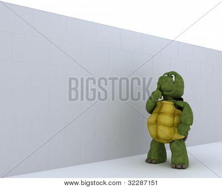 3D render de una tortuga con rompecabezas