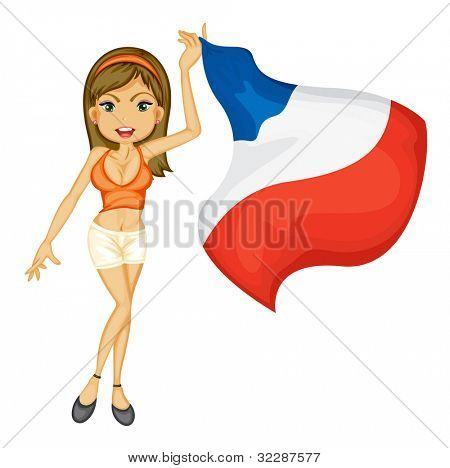 Illustration of a sexy woman cheering for france - EPS VECTOR format also available in my portfolio.