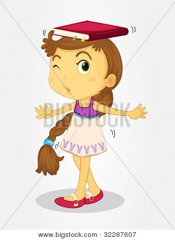 Long0haired girl balancing book on her head - EPS VECTOR format also available in my portfolio.
