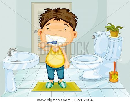 Boy brushing teeth in bathroom - EPS VECTOR format also available in my portfolio.