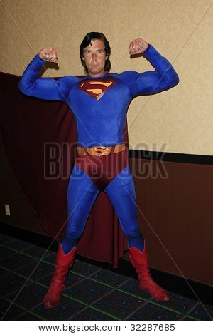 BURBANK, CA - APR 22: Christopher Dennis impersonates Superman at The Hollywood Show held at Burbank Airport Marriott on April 22, 2012 in Burbank, California