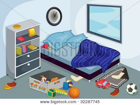 Illustration of a messy bedroom - EPS VECTOR format also available in my portfolio.