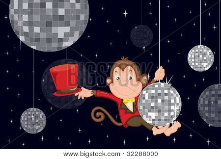Illustration of disco monkey - EPS VECTOR format also available in my portfolio.