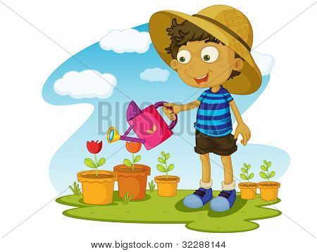 Illustration of kid gardening with water - EPS VECTOR format also available in my portfolio.