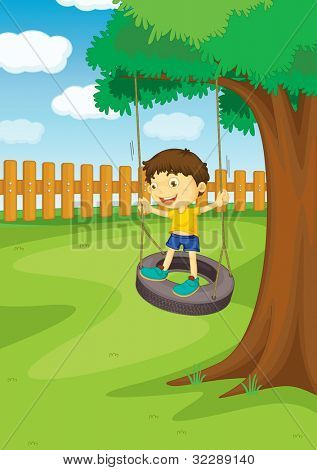Illustration of a boy on a swing - EPS VECTOR format also available in my portfolio.
