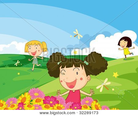 Ilustração de crianças brincando no Parque - formato VETORIAL EPS também disponível na minha carteira.