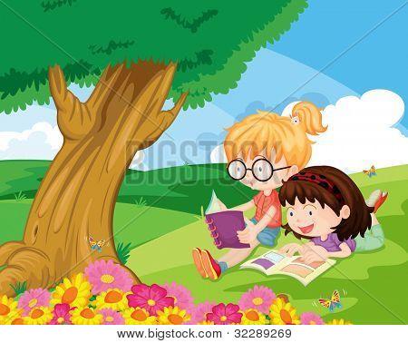 Ilustración de las niñas sobre un fondo blanco - formato EPS VECTOR también disponible en mi cartera.