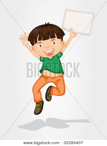 Illustration of a boy jumping with a banner - EPS VECTOR format also available in my portfolio.