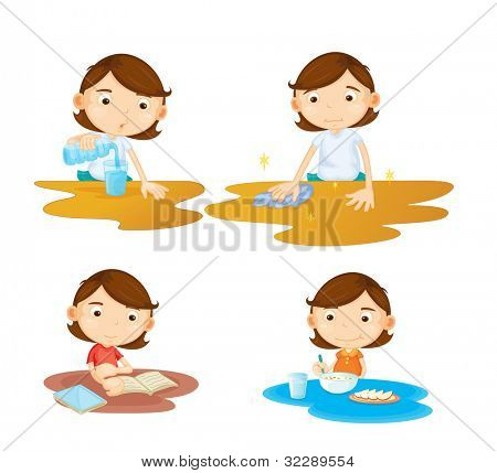 Illustration of a girl sitting at a table - EPS VECTOR format also available in my portfolio.