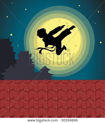 Illustration of kicking child over moon - EPS VECTOR format also available in my portfolio.