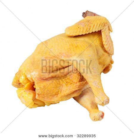 Raw chicken, isolated on white background.