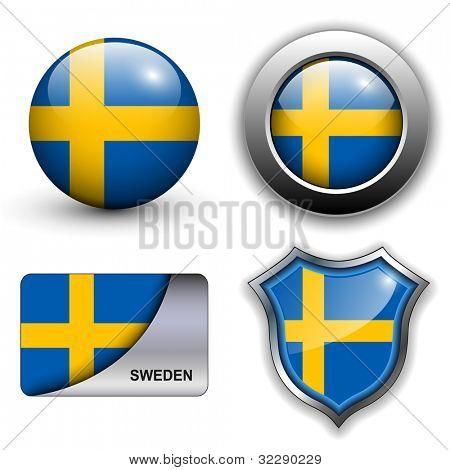 Schweden Flagge Ikonen Thema.