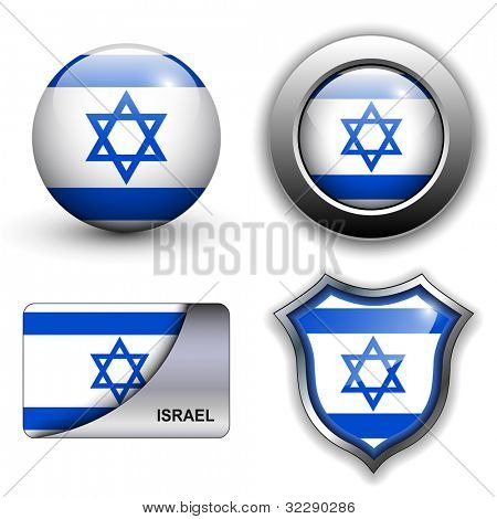 Israel flag icons theme.