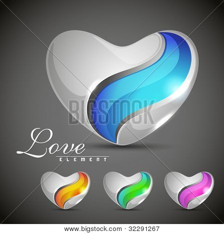 Glossy heart shapes design in blue, yellow, green and pink color isolated on grey background. EPS 10, can be use as label, sticker, tag, button and icon.