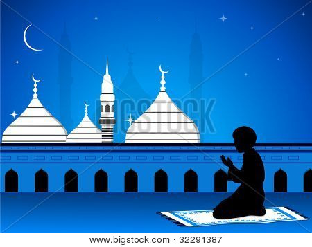 View of Mosque or Masjid  on night background with silhouette of a boy reading Namaz ( Islamic prayer )can be used for for Ramazan,  Eid Mubarak and other occasions . EPS 10. Vector illustration.