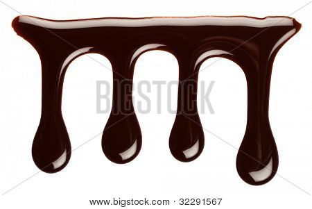 Chocolate syrup drip, isolated on white background